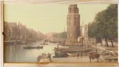 Wijnkist - Oud Stadsgezicht Amsterdam - Montelbaanstoren Oudeschans - Oude Foto Print op Houten Kist - 19x36 cm