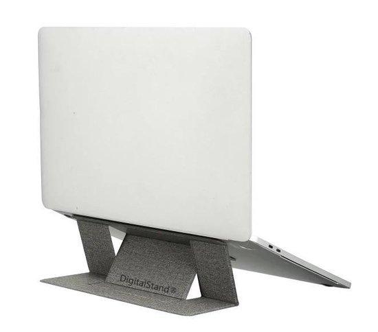 """DigitalStand® Opvouwbare Laptop Standaard - Apple Macbook - Tablet / Ipad - Universeel - Lichtgewicht (77g) - 2mm Dik - Verstelbare Ergonomische Notebook Laptopstandaard - Asus, HP, ACER, Microsoft, Lenovo tot en met 15.6"""" - Donker Grijs"""