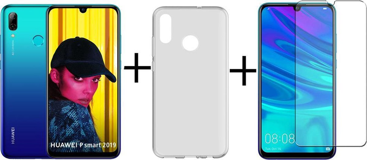 Huawei P Smart 2019 - 64GB - Blauw + Transparant Silliconen Hoesje + screenprotector kopen