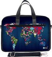 Laptoptas 17,3 / schoudertas artistieke wereldkaart - Sleevy - laptoptas - schooltas
