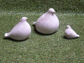 Tuinbeeld duiven set (Grijs) - decoratie voor binnen/buiten - beton - set duif groot/middel/klein