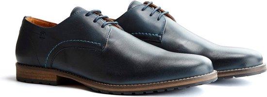 Travelin Manchester Leather - Leren veterschoenen - Donkerblauw - Maat 40