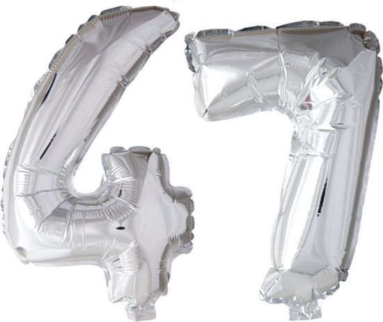 Folieballon 47 jaar zilver 86cm
