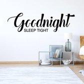 Slaapkamer Sticker Goodnight Sleep Tight -  Geel -  120 x 34 cm  - Muursticker4Sale