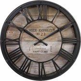 Wandklok bruin - diameter 39 cm - Woonkamer Klok Industrieel - Landelijke wandklok - Keukenklok - Vintage Klok -