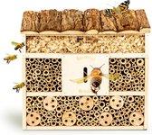 Bambuswald© Insectenhotel 29,5x10x28,5cm | Insectenhuis gemaakt van natuurlijke materialen - Bijenhotel met bescherming
