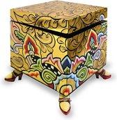Kleurrijk, grappig en vrolijk, in alle kleuren van de regenboog:  Box square, gold