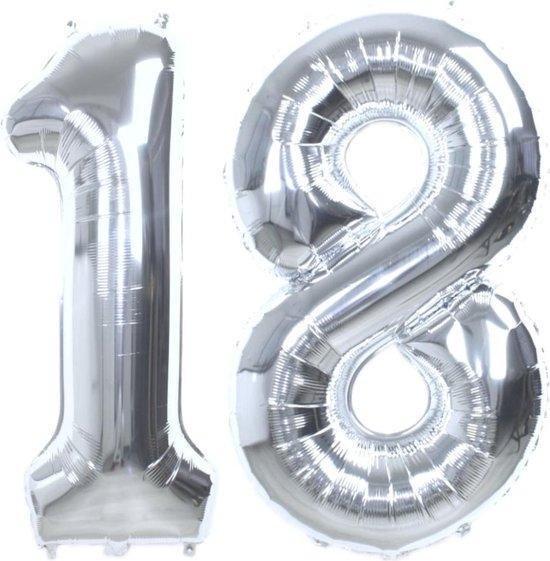 Folie ballon zilver XL cijfer 18  is + - 85 cm groot