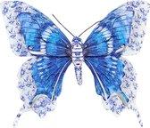 1x Tuindecoratie vlinder van metaal blauw 31 cm - Metalen schutting decoratie vlinders - Dierenbeelden tuindecoratie
