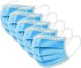 Wegwerp mondkapjes - 3 laags - latexvrij met elastiek en neusclip - dispenserdoos 50 stuks - NIET MEDISCH
