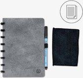 GreenBook - Whiteboard Notebook - A5 Lijn - Concrete Grey - met doekje