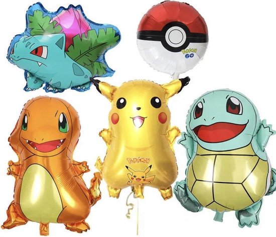 Pokemon ballon set  - Pikachu ballon, Charmander, Squirtle, Bulbasaur