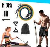 HighSupply® - Resistance Band - Weerstandsbanden - Fitness Elastiek - Gewichten - Fitness - Fitness Elastiek met Handvat - Rood/Zwart/Blauw/Geel/Groen - 11 Delige Workout Set - Mannen en Vrouwen - Inclusief Gratis Opbergtas