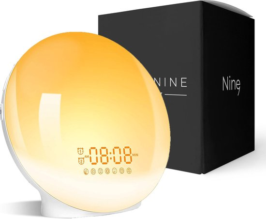 Moderne Wake Up Light - Lichtwekker - Wekker Met Licht - Wake-Up Alarm - Wekker Radio - Nacht Lamp - 7 Kleuren - USB