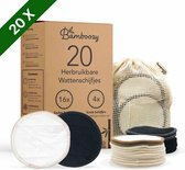 Bamboozy 20 Zwart + Wit Wasbare Wattenschijfjes 16x Dagelijks 4x Scrub Herbruikbare Wattenschijfjes Zero Waste Duurzame Bamboe