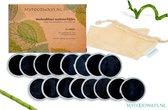 16x Zwarte Luxe Herbruikbare Wattenschijfjes – Bamboe - inclusief Waszakje | Plasticvrije Verpakking - Zero Waste | Wasbare Wattenschijfjes | Duurzame Wattenschijfjes | Make Up Pads