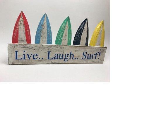 Houten bord met kleurige surfplanken 25x50 cm