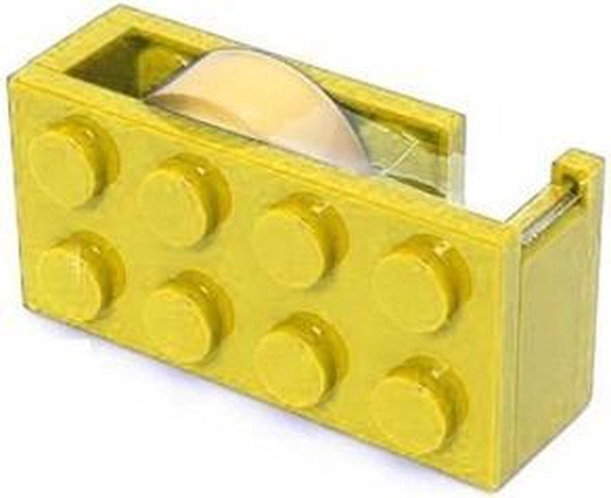 Lego blok plakband dispenser GEEL bekend van lego - set - blokjes - bouwen - figuur - kinderkamer + plakband rol - technic - city - friends - star wars - creator - ninjago - classic - harry potter lego blokje