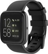 Shop4 - Fitbit Versa 2 Bandje - Small Siliconen Zwart