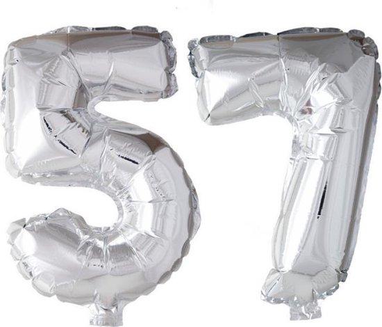 Folieballon 57 jaar zilver 86cm