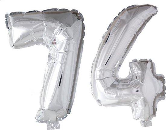 Folieballon 74 jaar zilver 86cm
