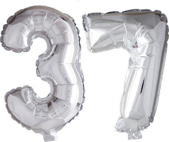 Folieballon 37 jaar zilver 86cm