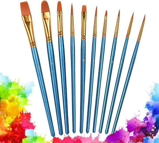 Afbeelding van CreaTime Professioneel Penselen Kwasten Set van 10 Acrylverf en Waterverf - Olieverf - Schilderen, Verven en Knutselen - Hobby en Creatief speelgoed