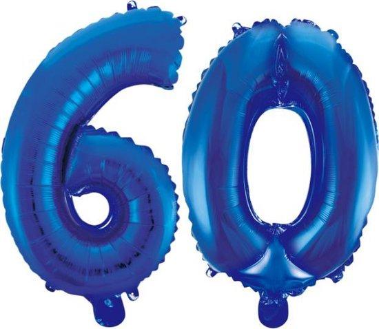 Folieballon 60 jaar blauw 86cm