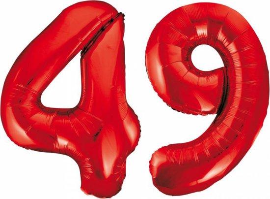 Folieballon 49 jaar rood 86cm