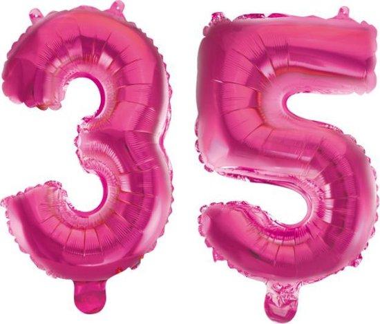 Folieballon 35 jaar roze 86cm