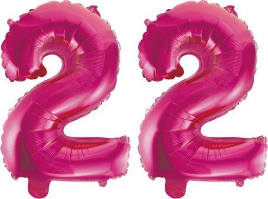 Folieballon 22 jaar roze 86cm