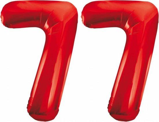 Folieballon 77 jaar rood 86cm