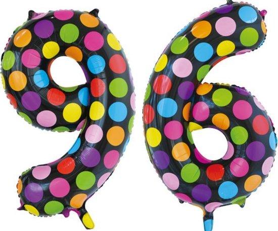 Folieballon 96 jaar stippen 86cm