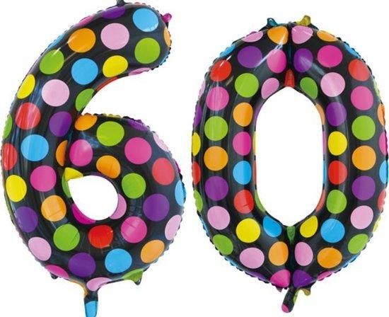 Folieballon 60 jaar stippen 86cm