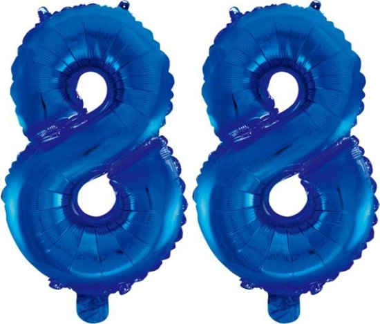 Folieballon 88 jaar blauw 41cm