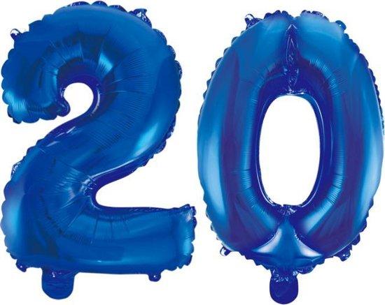 Folieballon 20 jaar blauw 41cm