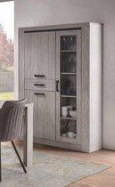 Belfurn - Valencia vitrinekast 120cm in een grijze kleur met zwarte accentlijn