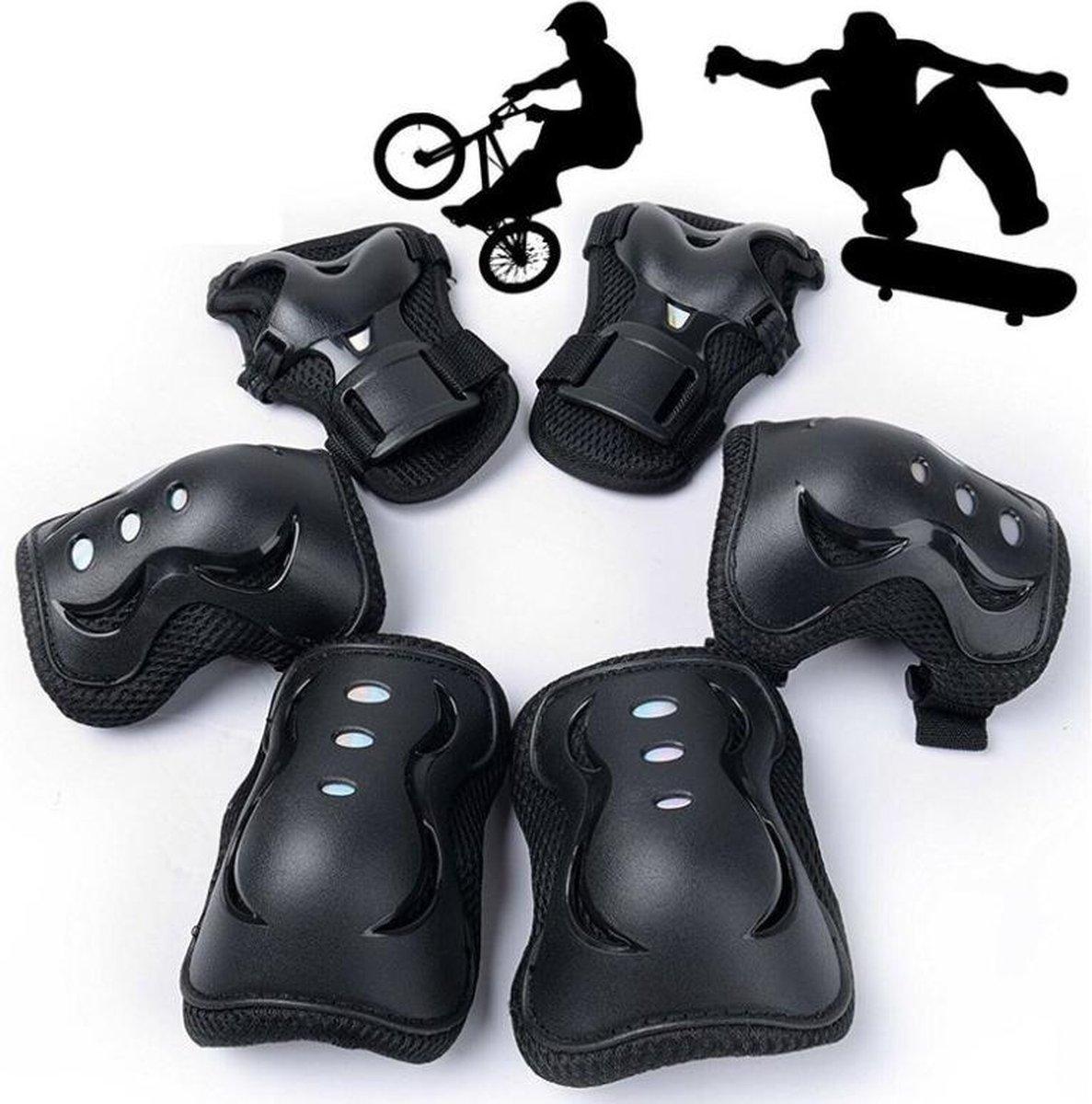 Universele sport beschermset - 6 delig - Skeeler / skate bescherming - 3 in 1 - Elleboog / pols en kniebeschermers - Valbescherming skateboard - Voor fiets, step pads -Zwart