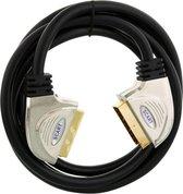 Q-LINK scart-kabel 21-polig 3 meter lang | ZWART