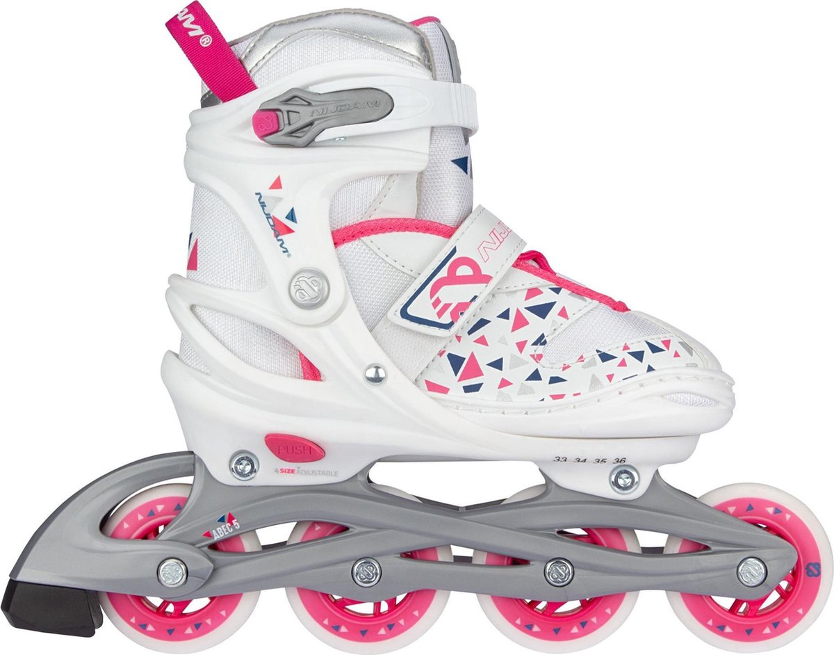 Nijdam Inline Skates Verstelbaar - White Wedge - Wit/Zilvergrijs/Fuchsia/Marine - 33-36
