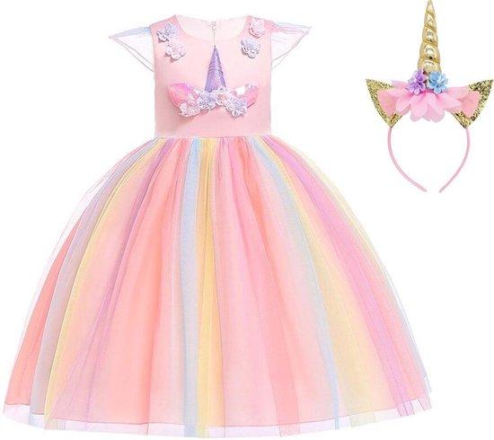 Eenhoorn jurk unicorn jurk eenhoorn kostuum - roze Classic 104-110 (110) prinsessen jurk verkleedjurk + haarband
