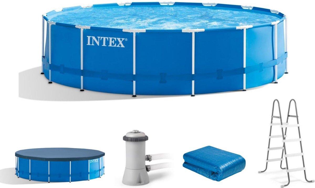 Intex Opzetzwembad - Metal Frame - Ø457 X 122 Cm - Blauw - Met Accessoires