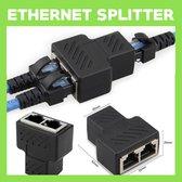 Internet / Netwerk / Ethernet Kabel Splitter zwart