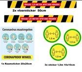 Corona sticker set vloer en raam stickers - Corona stickers afstand houden vloer raam muur COVID-19