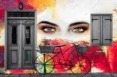 JJ-Art | Graffiti muur met ogen van vrouw, deur, luiken en fiets met manden in Fine Art | modern, rood, abstract | Foto-Schilderij print op Canvas (canvas wanddecoratie) | KIES JE MAAT