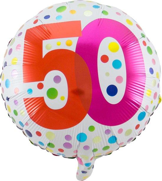 Helium Ballon 50 Jaar Stippen 45cm leeg
