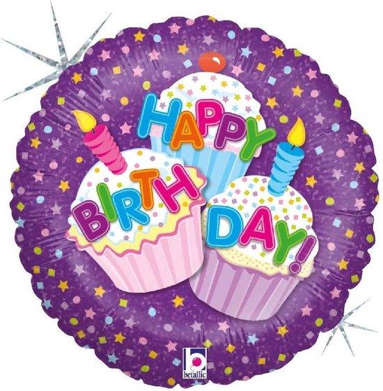 Folie cadeau sturen helium gevulde ballon Gefeliciteerd/Happy Birthday cup cakes 46 cm - Folieballon verjaardag versturen/verzenden