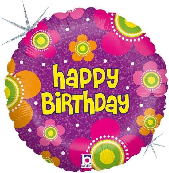 Folie cadeau sturen helium gevulde ballon Gefeliciteerd/Happy Birthday bloemen 46 cm - Folieballon verjaardag versturen/verzenden