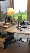 Baliescherm Staand | Spatscherm | Bureauscherm | Kassascherm | Preventiescherm | Spuugscherm | Kuchscherm | Plexiglas scherm | 100 cm x 75 cm ( b x h ) | Met Doorgeefopening