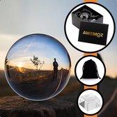 AWEMOZ® Kristallen Foto Bol Set - 10 cm - Fotografie Lensbal - Glazen Standaard - Opbergdoos - Bewaarzak - Schoonmaakdoek